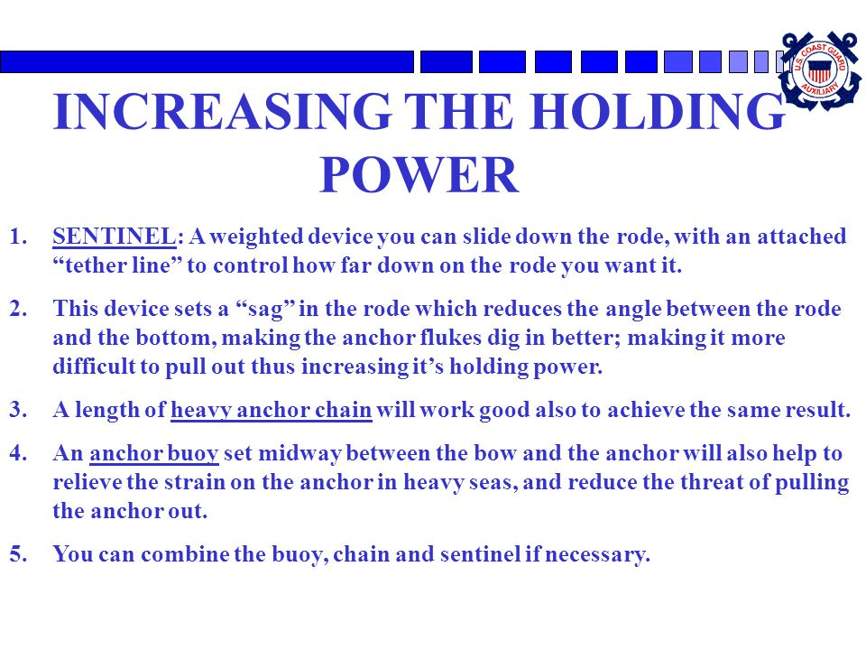 INCREASING THE HOLDING POWER