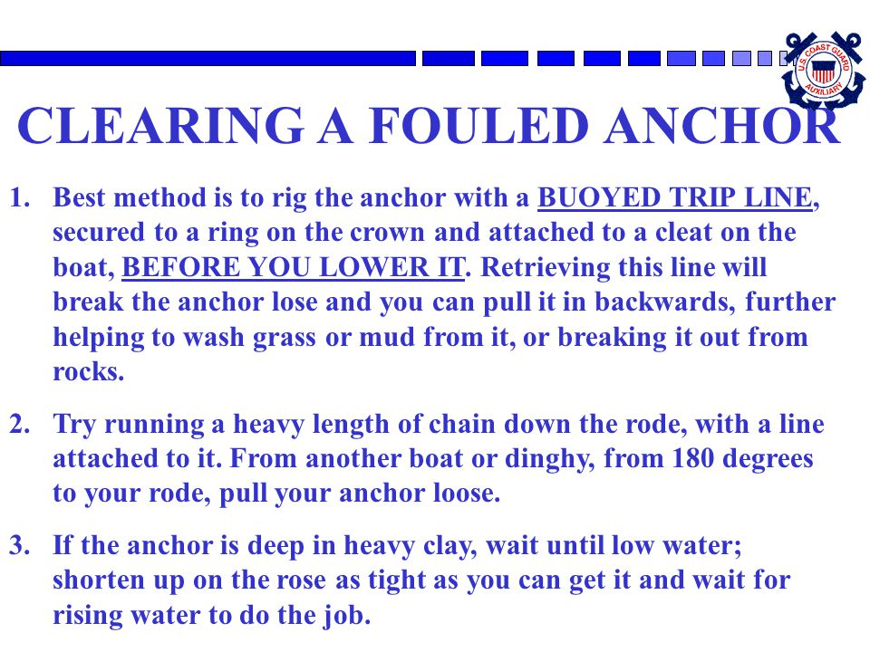 CLEARING A FOULED ANCHOR