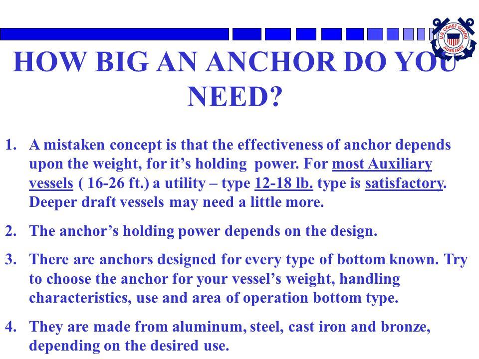 HOW BIG AN ANCHOR DO YOU NEED
