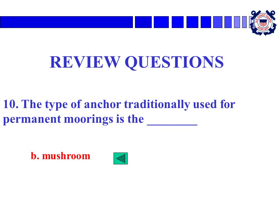 REVIEW QUESTIONS 10. The type of anchor traditionally used for permanent moorings is the ________.