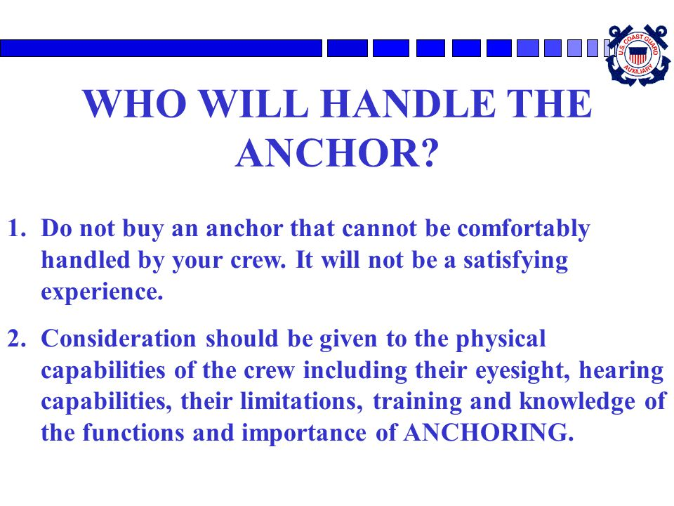 WHO WILL HANDLE THE ANCHOR