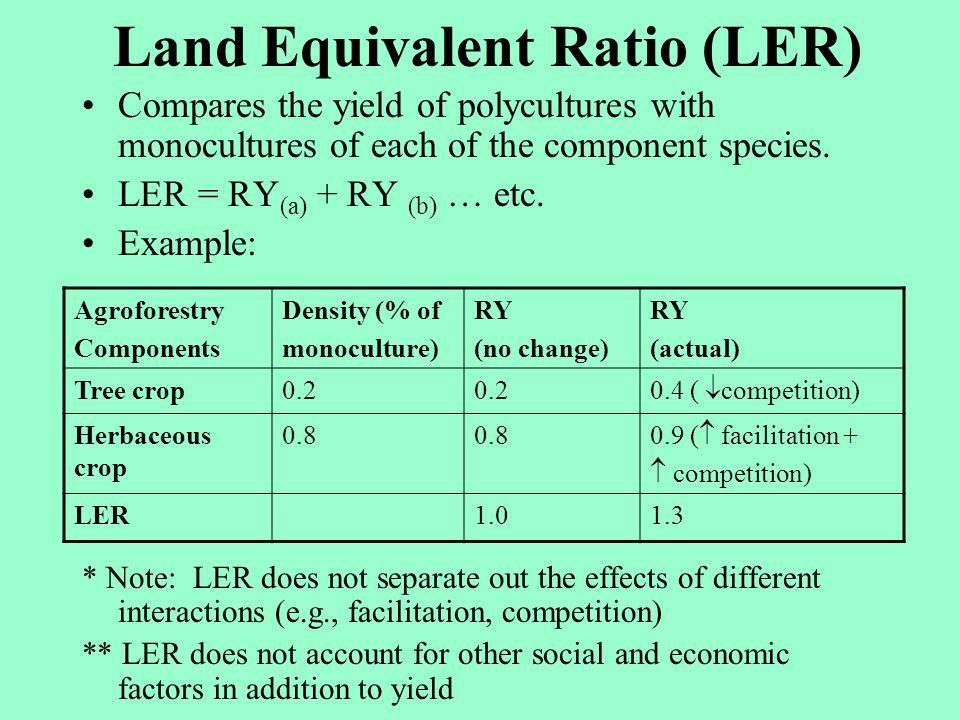 Land Equivalent Ratio (LER)