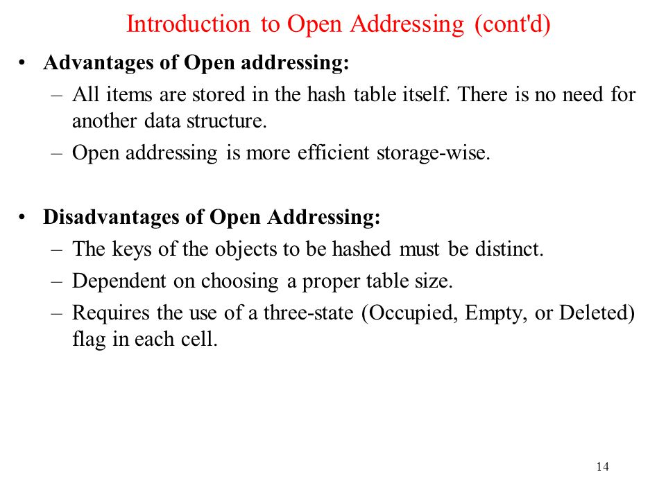 Introduction to Open Addressing (cont d)