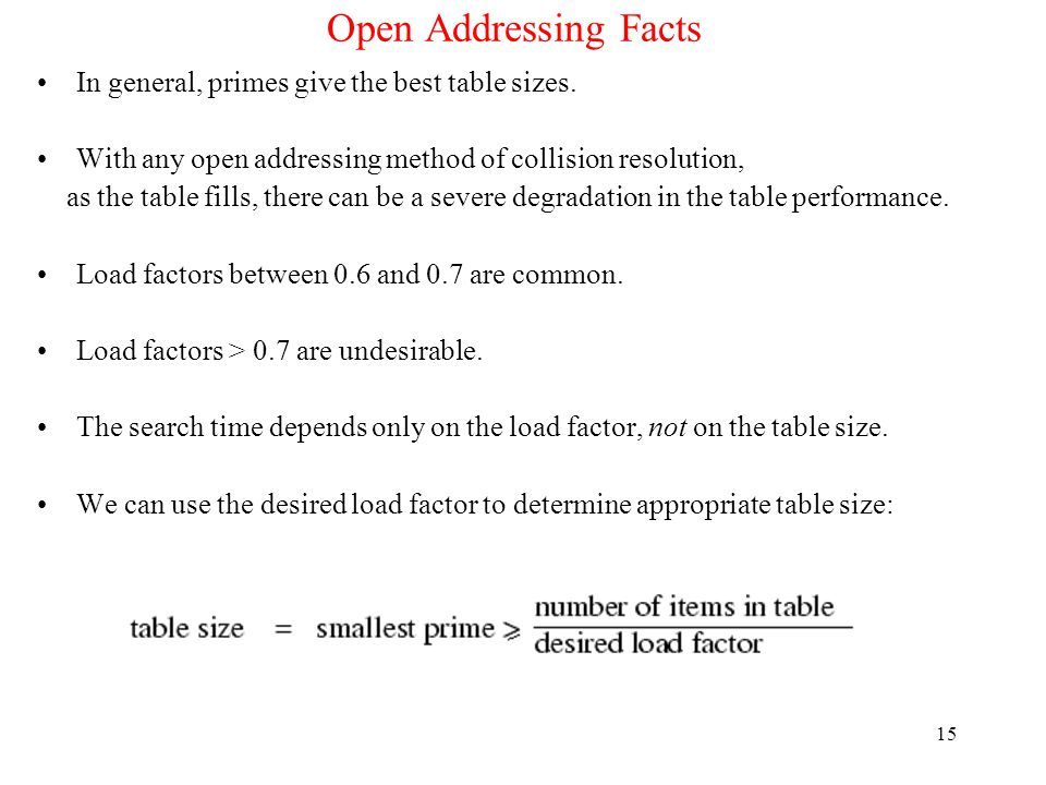 Open Addressing Facts In general, primes give the best table sizes.