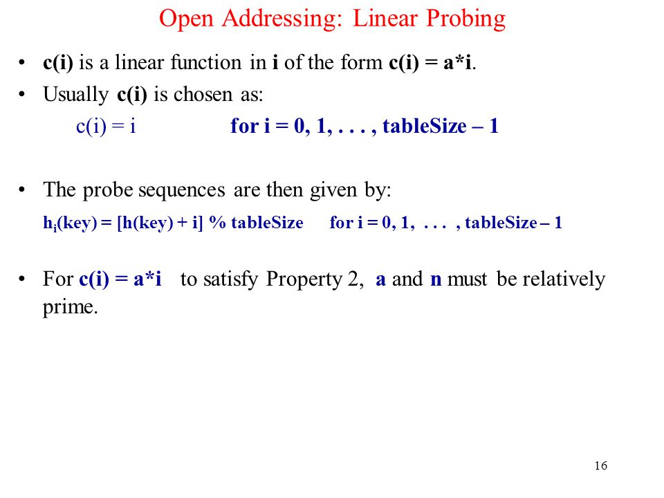 Open Addressing: Linear Probing