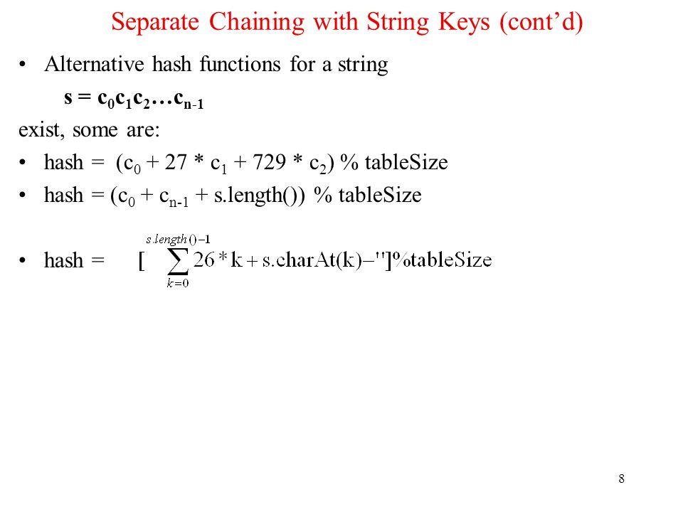 Separate Chaining with String Keys (cont'd)