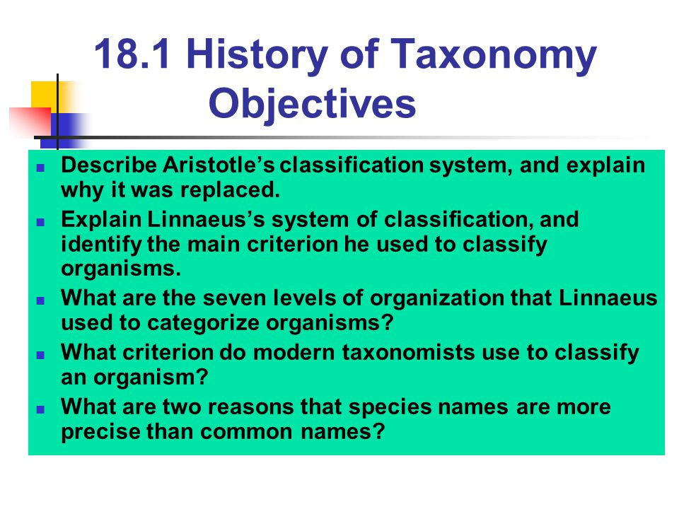 18.1 History of Taxonomy Objectives