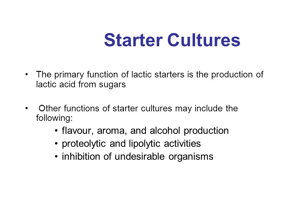 Starter Cultures flavour, aroma, and alcohol production