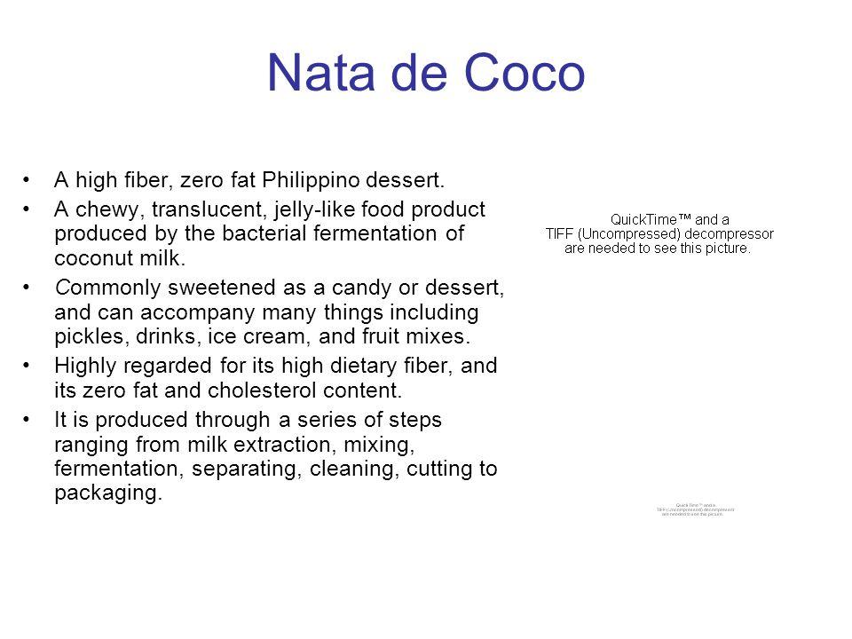 Nata de Coco A high fiber, zero fat Philippino dessert.