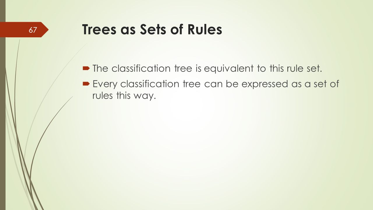 Trees as Sets of Rules The classification tree is equivalent to this rule set.