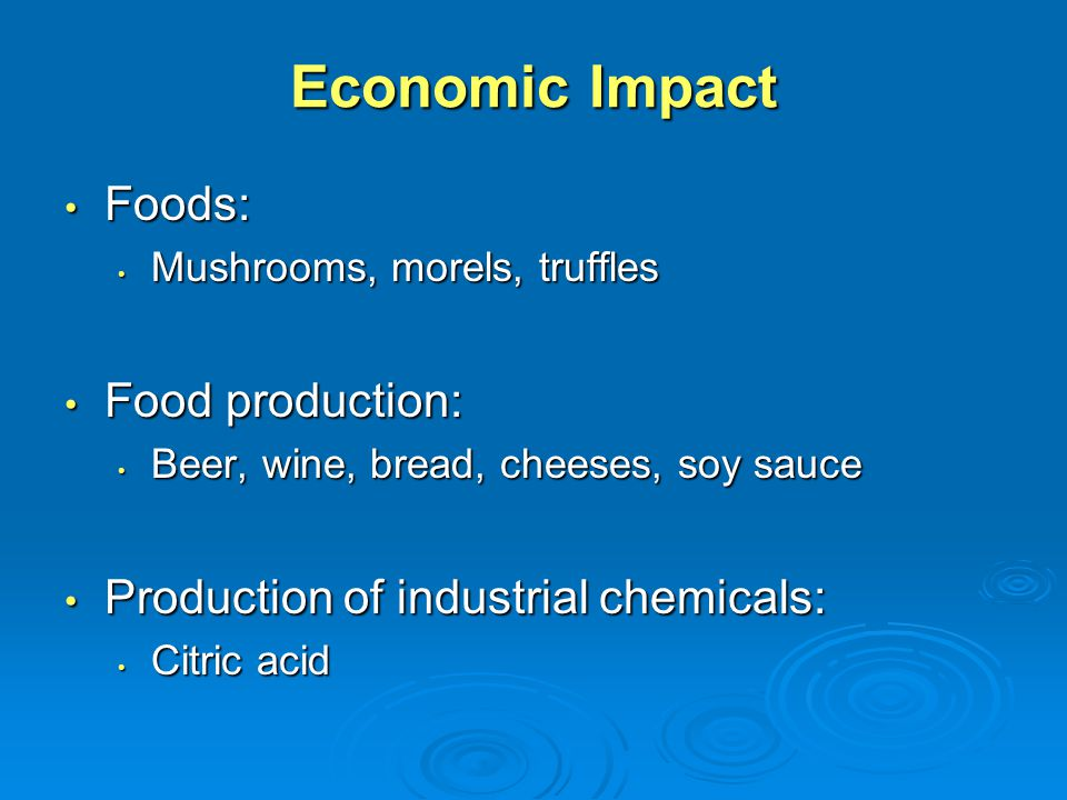 Economic Impact Foods: Food production: