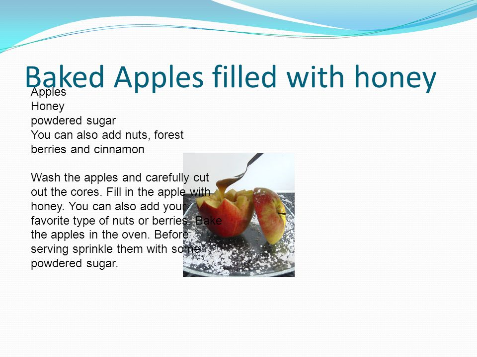 Baked Apples filled with honey