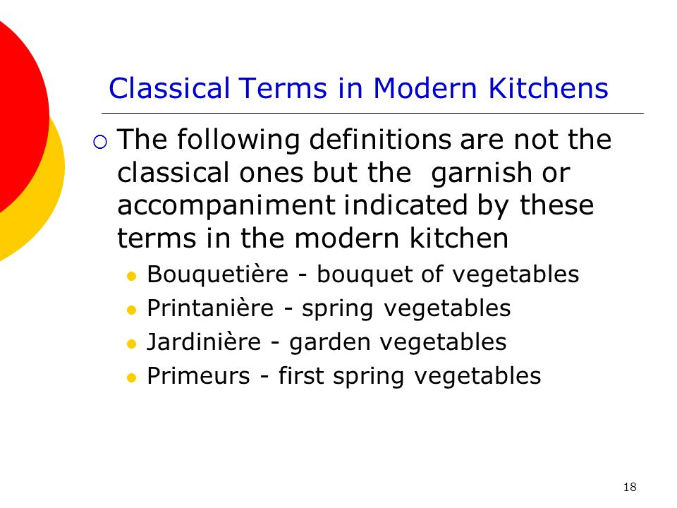 Classical Terms in Modern Kitchens