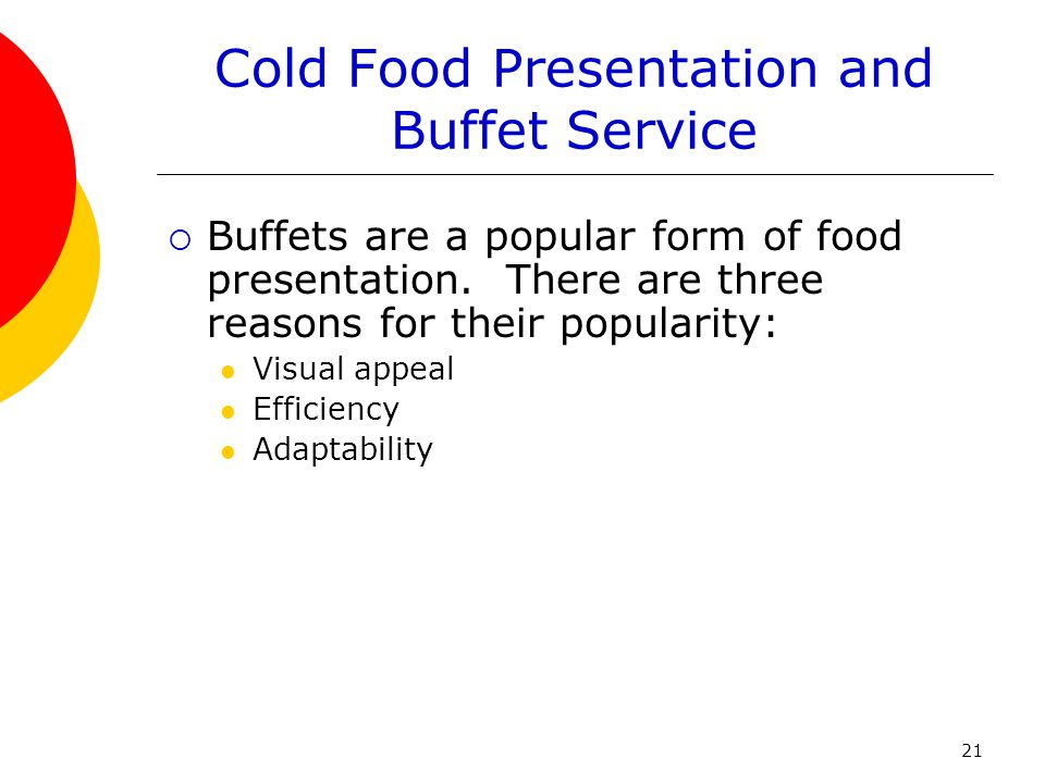 Cold Food Presentation and Buffet Service