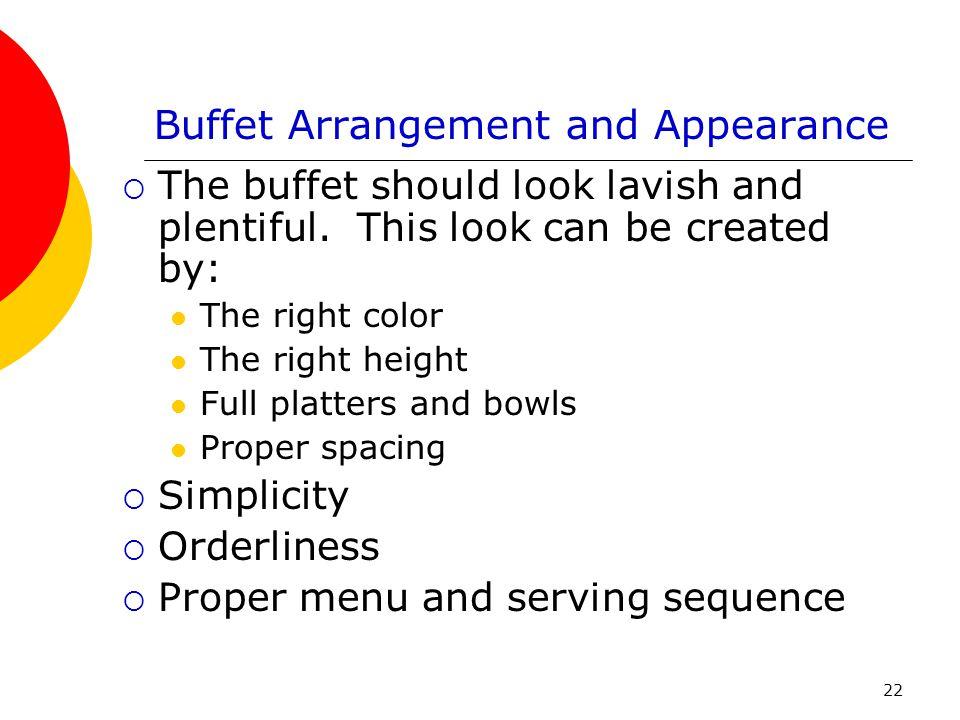 Buffet Arrangement and Appearance