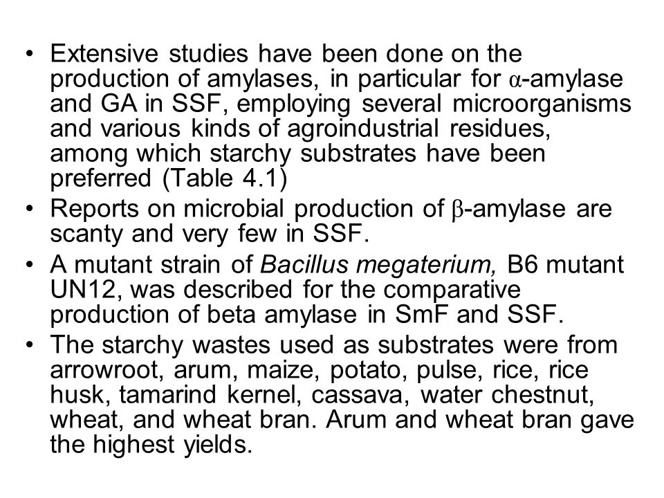 Extensive studies have been done on the production of amylases, in particular for α-amylase and GA in SSF, employing several microorganisms and various kinds of agroindustrial residues, among which starchy substrates have been preferred (Table 4.1)
