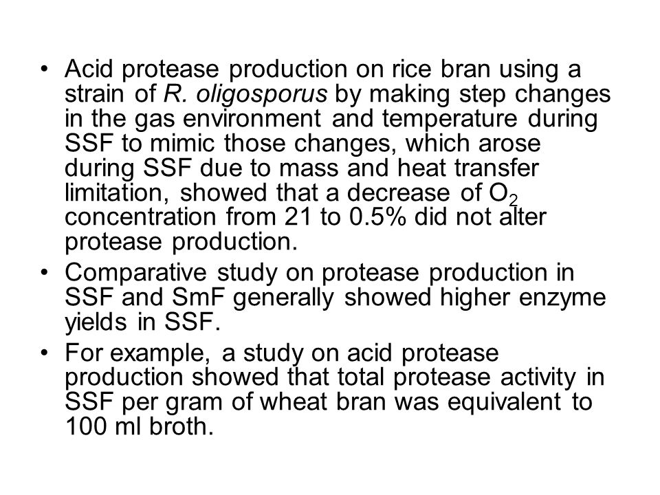 Acid protease production on rice bran using a strain of R