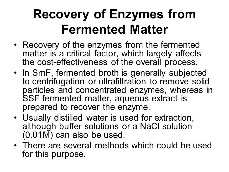 Recovery of Enzymes from Fermented Matter