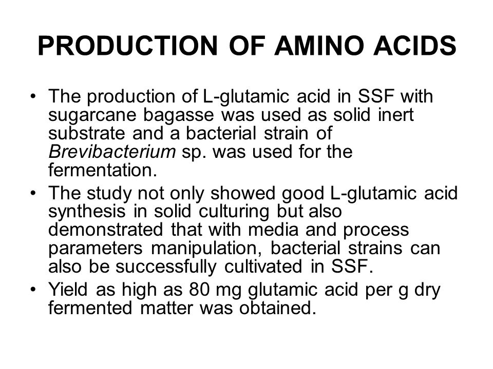 PRODUCTION OF AMINO ACIDS