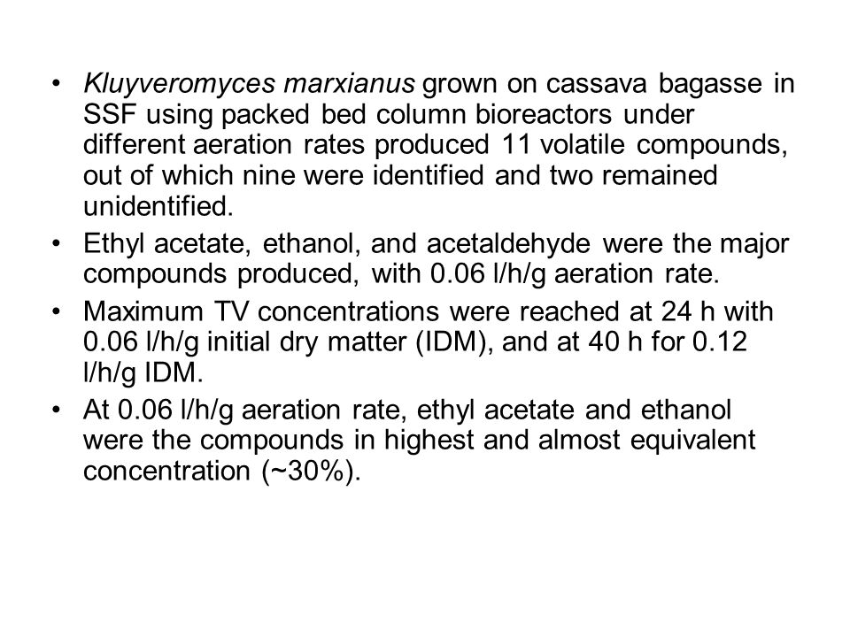 Kluyveromyces marxianus grown on cassava bagasse in SSF using packed bed column bioreactors under different aeration rates produced 11 volatile compounds, out of which nine were identified and two remained unidentified.