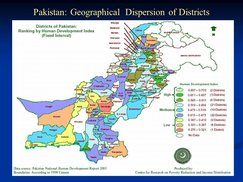 Pakistan: Geographical Dispersion of Districts