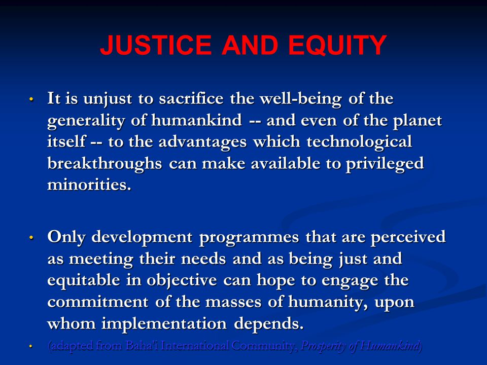 JUSTICE AND EQUITY