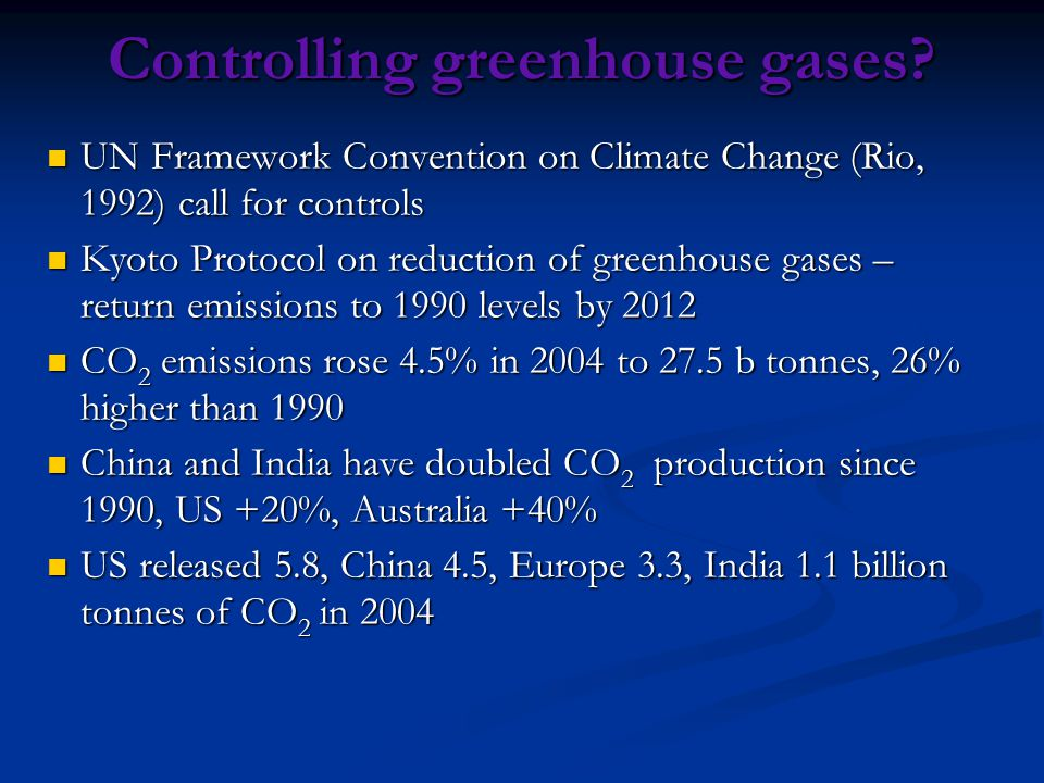 Controlling greenhouse gases