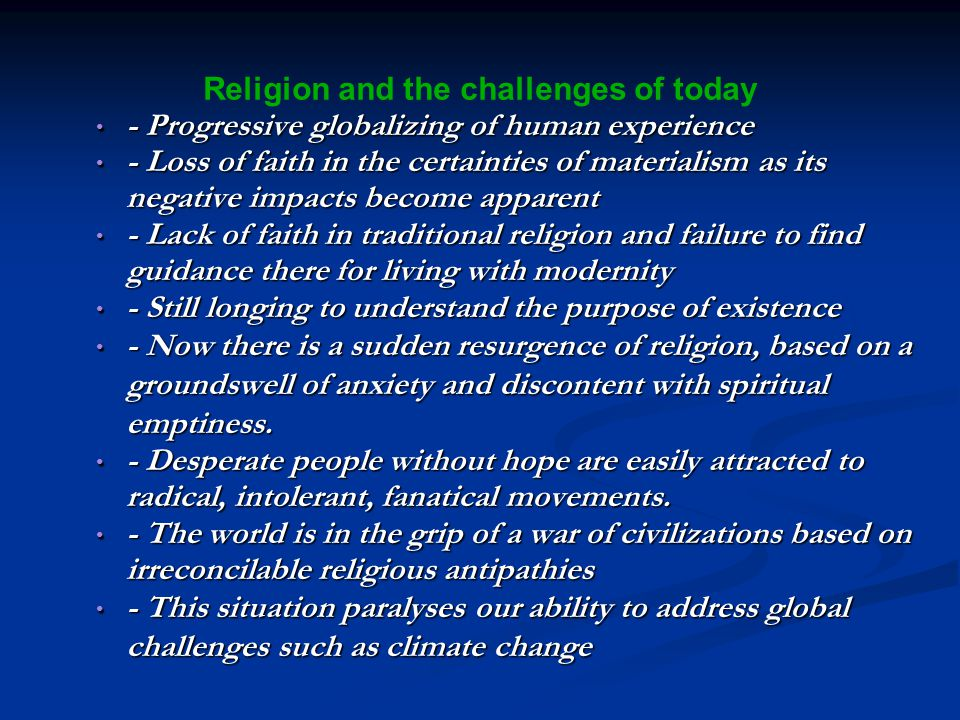 Religion and the challenges of today