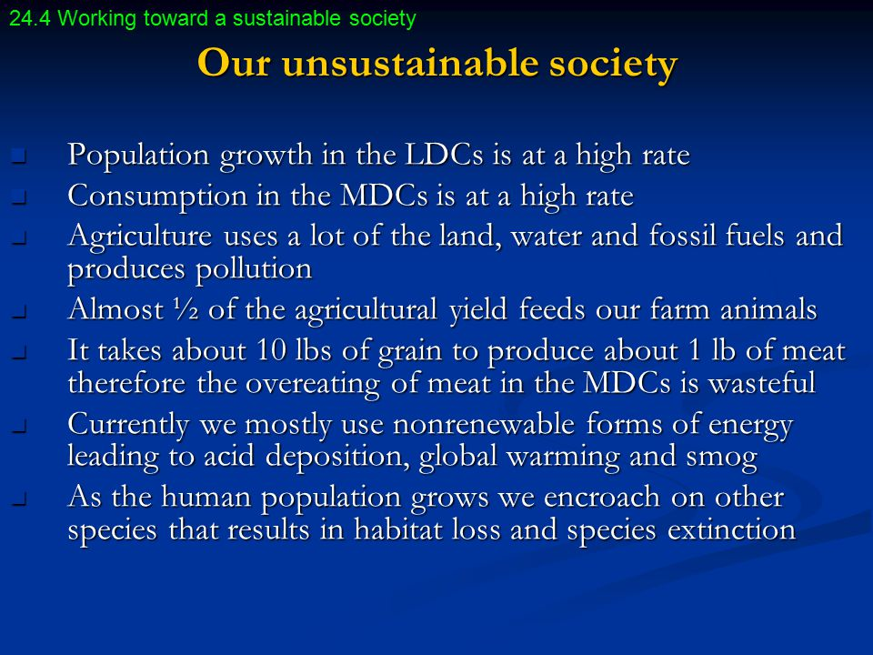 Our unsustainable society