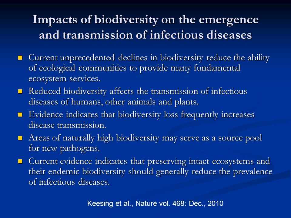 Impacts of biodiversity on the emergence and transmission of infectious diseases