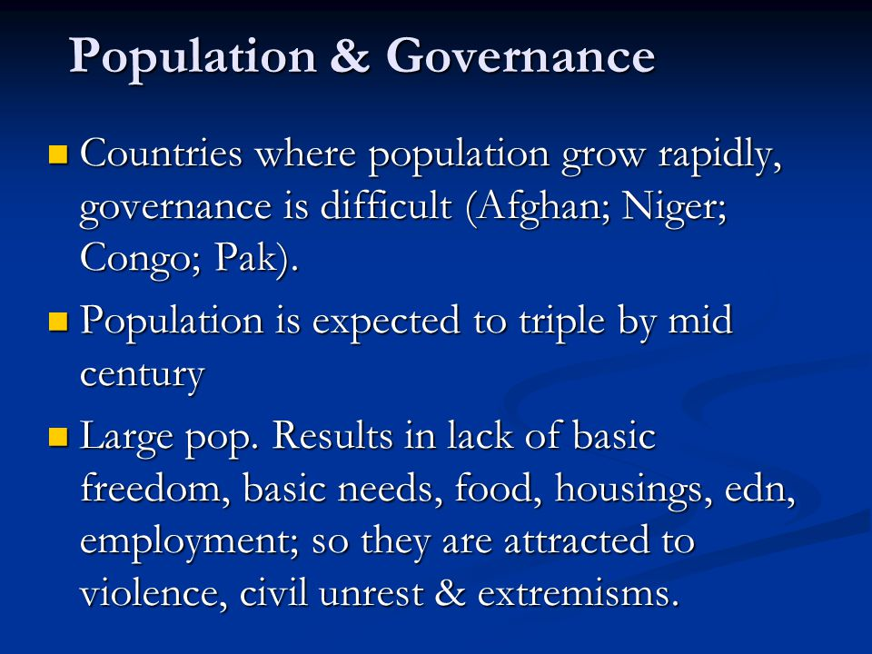 Population & Governance