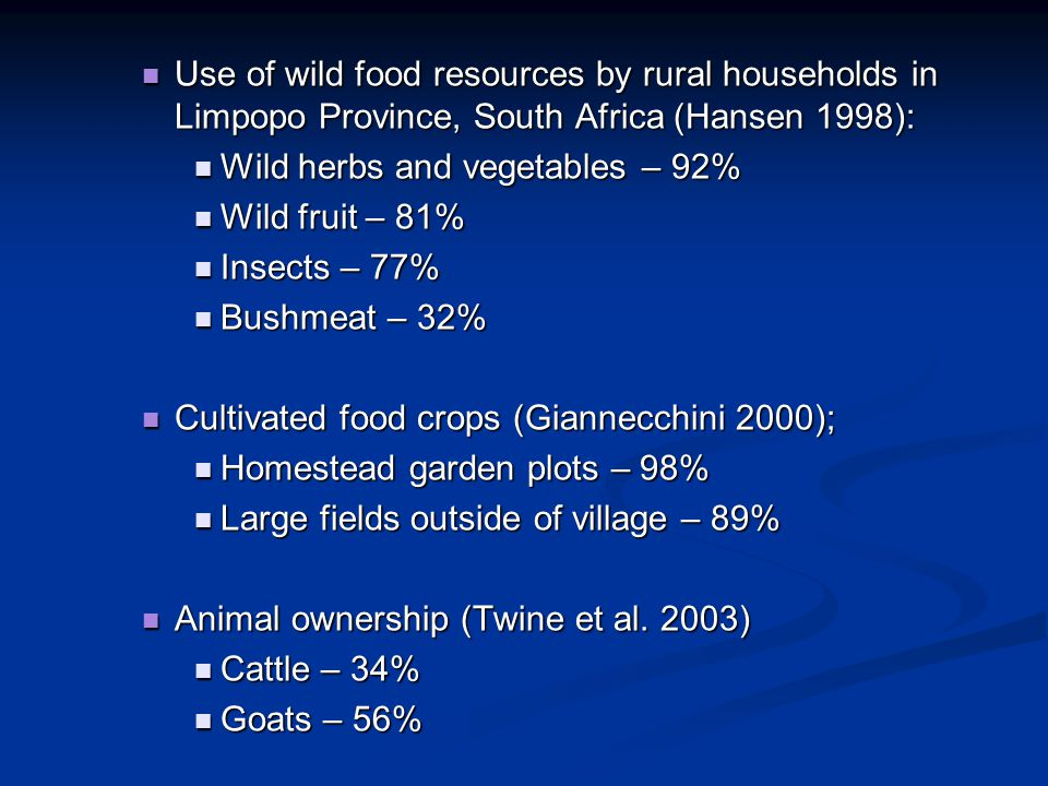 Use of wild food resources by rural households in Limpopo Province, South Africa (Hansen 1998):