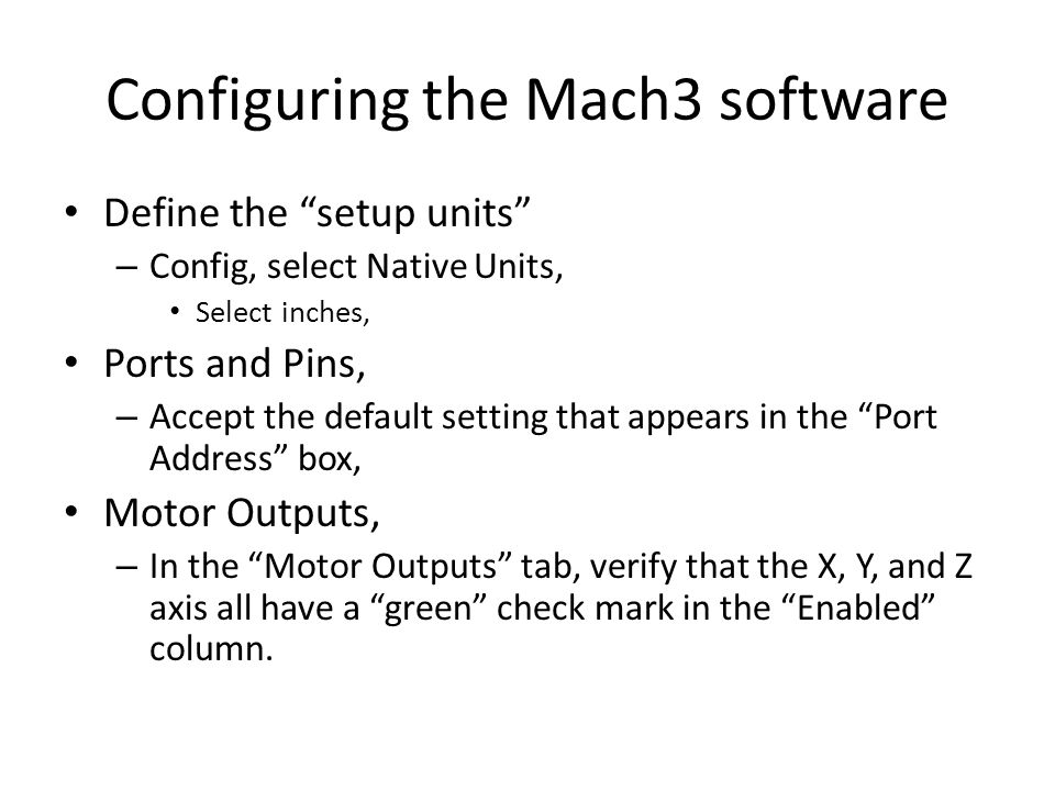 Configuring the Mach3 software