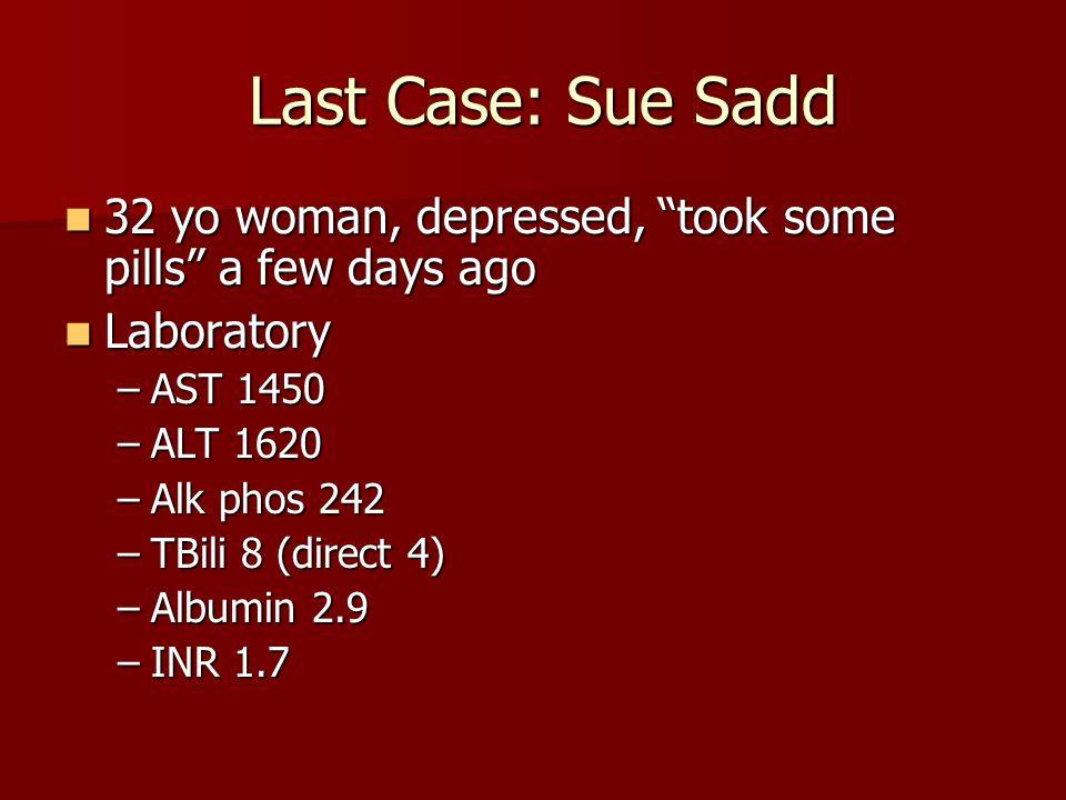 Last Case: Sue Sadd 32 yo woman, depressed, took some pills a few days ago. Laboratory. AST 1450.