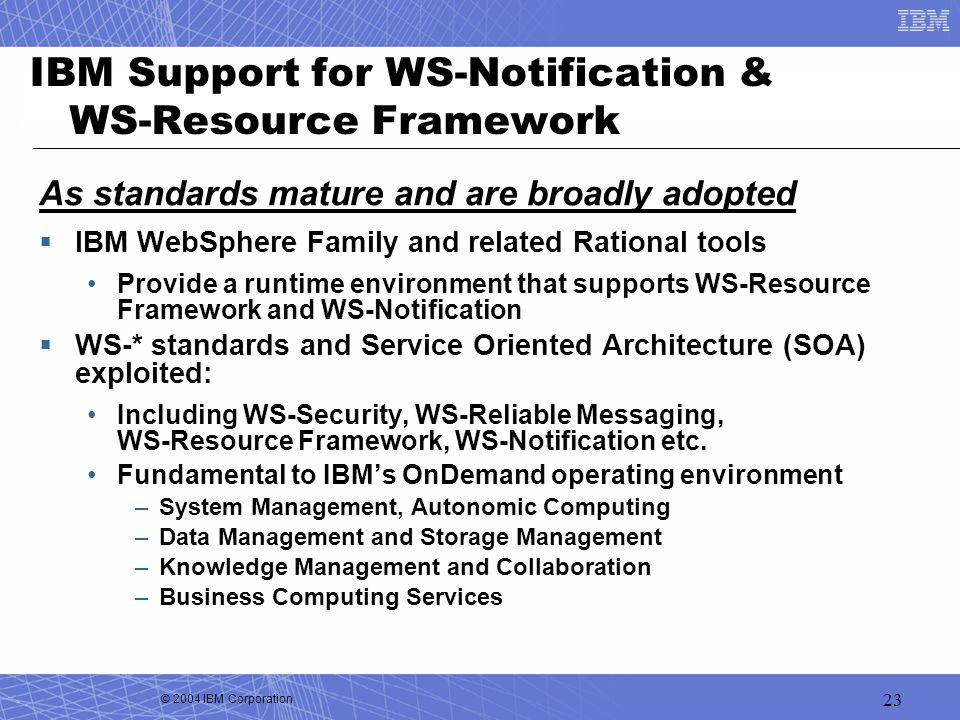 IBM Support for WS-Notification & WS-Resource Framework