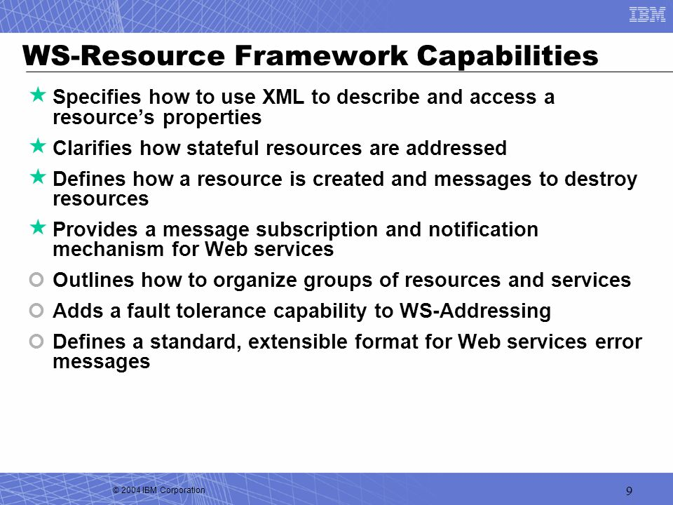 WS-Resource Framework Capabilities