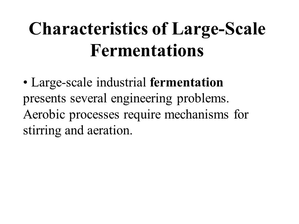 Characteristics of Large-Scale Fermentations