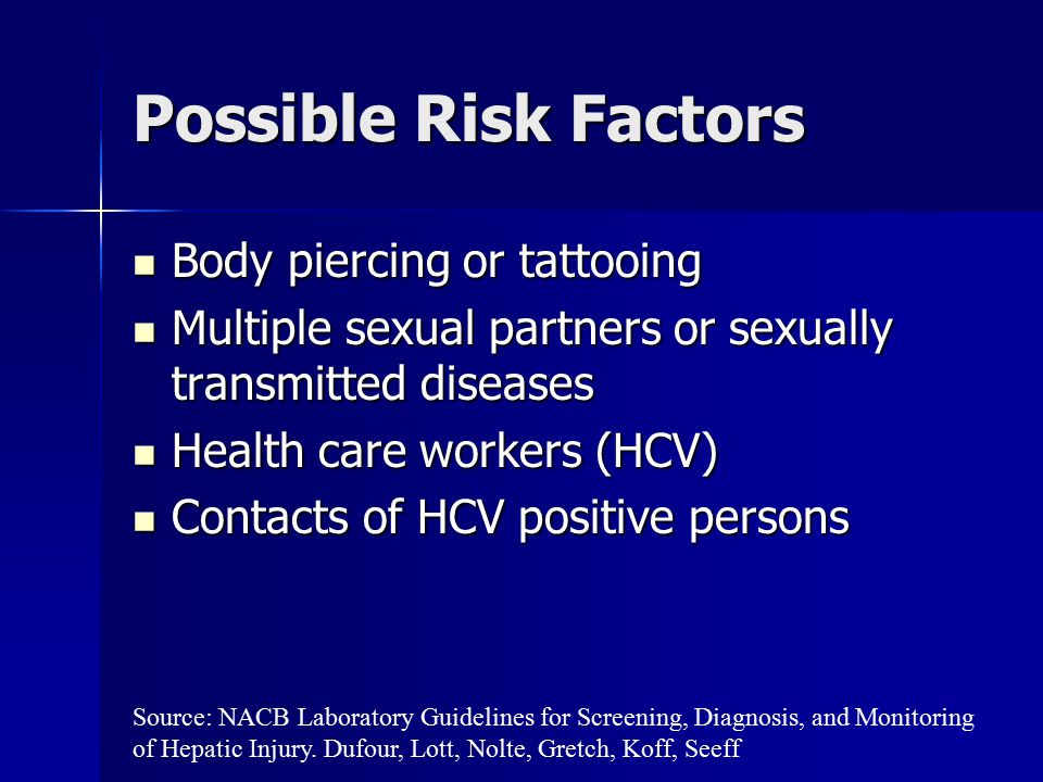 Possible Risk Factors Body piercing or tattooing