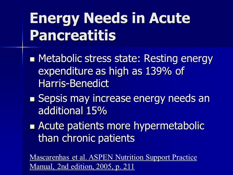 Energy Needs in Acute Pancreatitis