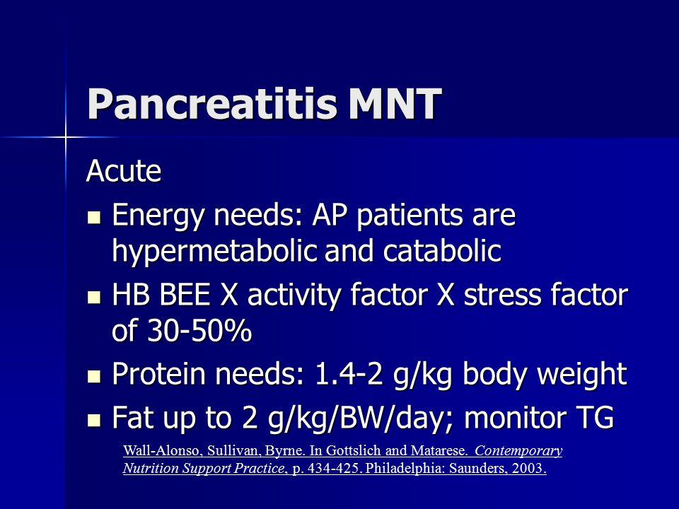 Pancreatitis MNT Acute