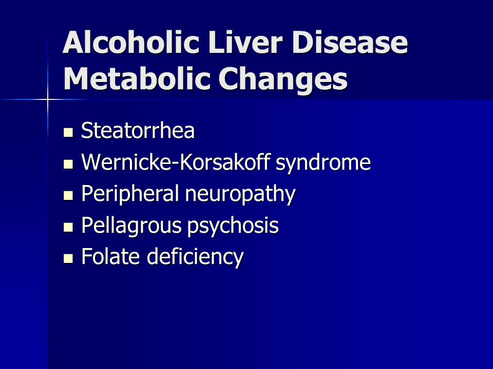 Alcoholic Liver Disease Metabolic Changes