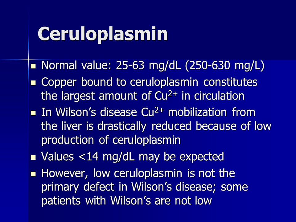 Ceruloplasmin Normal value: 25-63 mg/dL (250-630 mg/L)