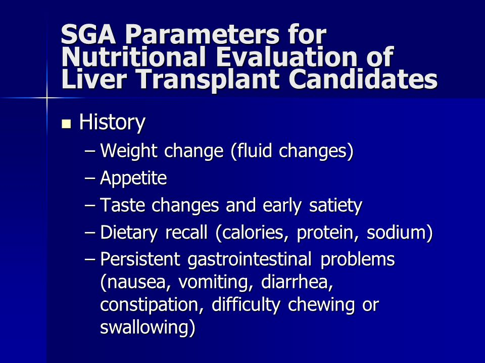 SGA Parameters for Nutritional Evaluation of Liver Transplant Candidates