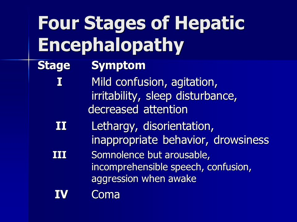 Four Stages of Hepatic Encephalopathy
