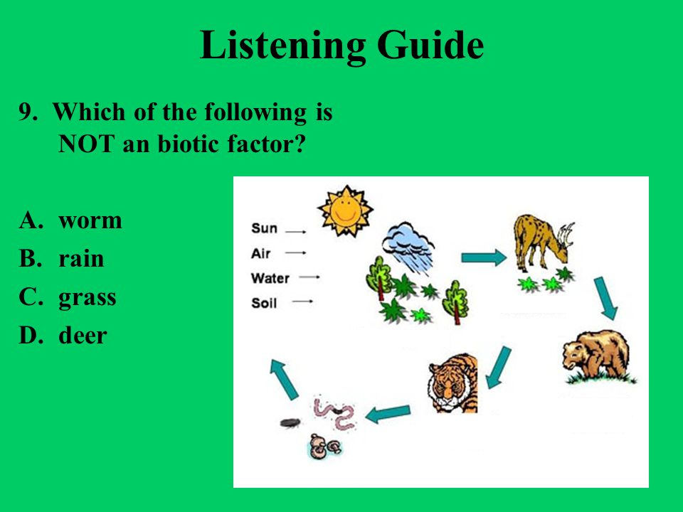 Listening Guide 9. Which of the following is NOT an biotic factor