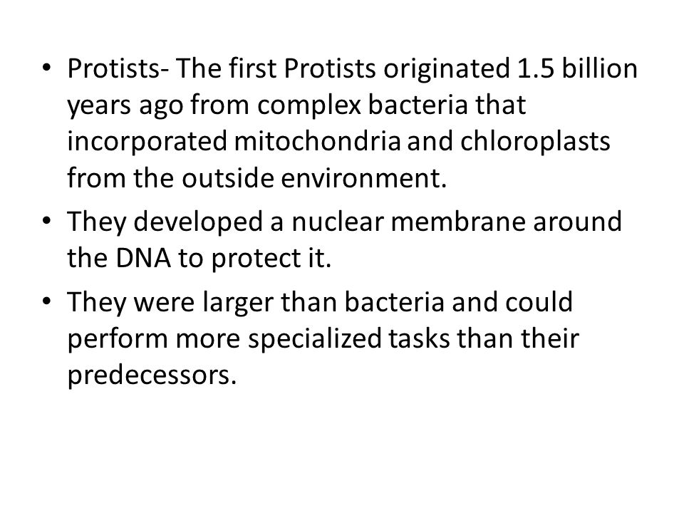 Protists- The first Protists originated 1
