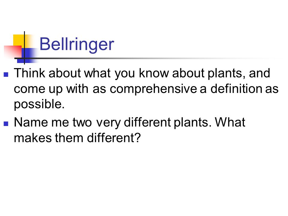 Bellringer Think about what you know about plants, and come up with as comprehensive a definition as possible.