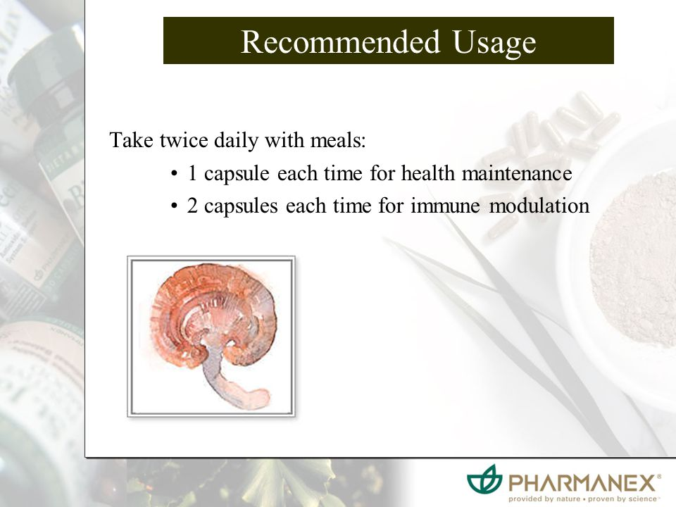 Recommended Usage Take twice daily with meals: