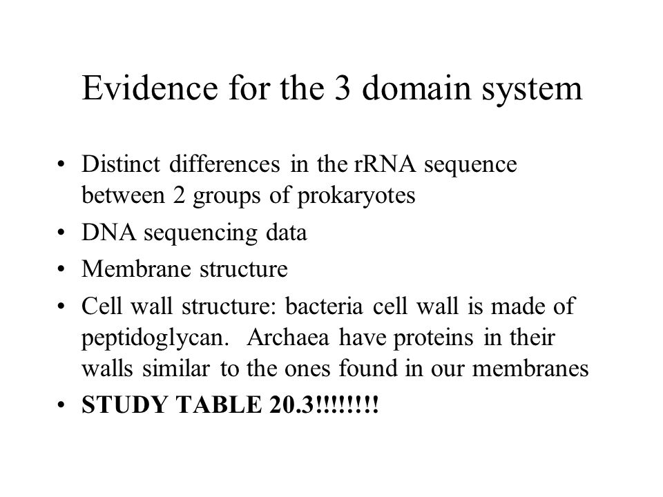 Evidence for the 3 domain system