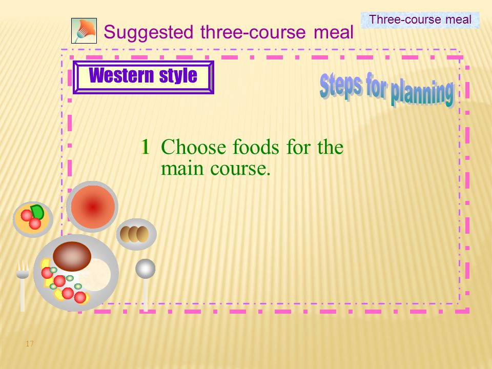 Steps for planning Choose foods for the main course. 1